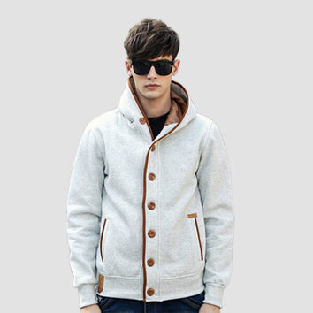 Plus Size 2016 Autumn Winter Fashion Men Fleece Elbow Patch Hooded Single Breasted Hoodies Male Casual Sweatshirt Jacket  YT1232
