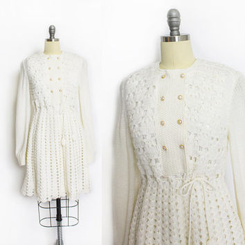 Vintage 190s Dress - White Crochet Knit Acrylic Sweater Dress 60s - Small S