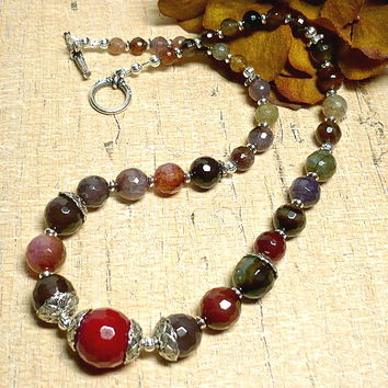 Faceted MultiColor Fire Agate 18 inch Graduated Gemstone Necklace
