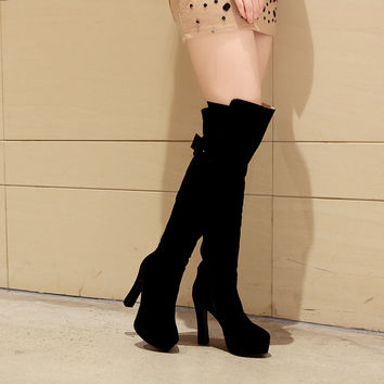 Round Toe Over the Knee Boots High Heels Women Shoes 9711