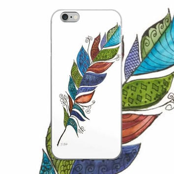 Watercolor phone case, Feather painting, Zentangle modern phone case, Unique design, Phone 5/5s/Se, 6/6s, 6/6s Plus Case, colorful case