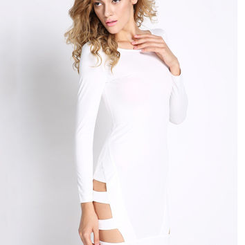 White Long Sleeve Cuotut Bodycon Mini Dress