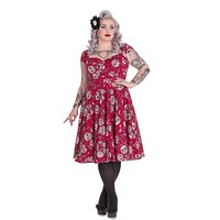 Hell Bunny Calavera Day of the Dead Flower Sugar Skull Print Red Party Dress