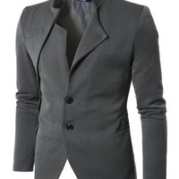 Doublju Mens Unbalanced Blazer Jacket