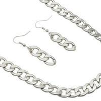 Silver SIMPLE LINK CHAIN Statement Necklace & Earrings SET Metal
