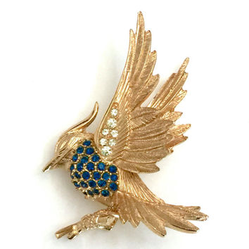 Marcel Boucher Bird Brooch, Textured Gold Tone Metal, Pave Sapphire and Ice Rhinestones, Very Three Dimensional Bird and Branch, 1960s