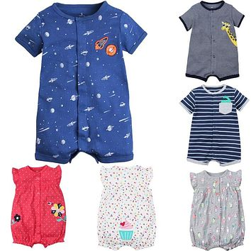 100% cotton infant baby boys clothes summer short sleeve rompers newborn baby body clothes cartoon animal pajamas for baby girl
