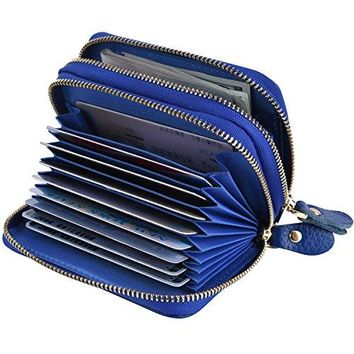 Kinzd Accordion Wallet RFID Blocking Leather Wallet for Women Credit Card Holder