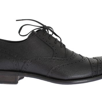 Black Leather Oxford Wingtip Shoes
