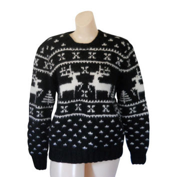 Wool Sweater Holiday Sweater Reindeer Sweater Ugly Christmas Sweater Woolrich Sweater Black and White Sweater Thick Sweater Winter Sweater