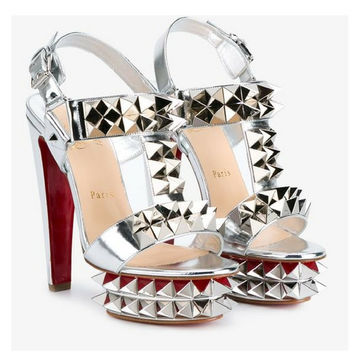 Christian Louboutin Metallic Leather Sandals with Oversized Spikes