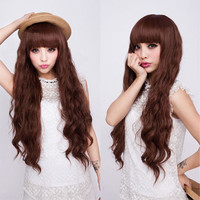 Fashion Womens Lady Long Wavy Curly Cosplay Party Full Hair Wig Peruca Perruque