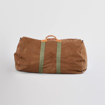 Vintage 80s LL BEAN Duffle BAG / 1980s Brown Canvas & Leather Weekender Travel Duffel Bag