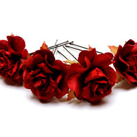 Winter Wedding Red Rose Ballet Bun Accessories Hair Pins Set of 4 Fashion Bobby Pins  Accessories Flower Girls Festival Wear