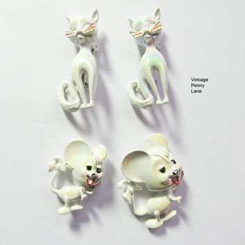Vintage Cat / Mouse Brooches, Figural Pins, Enemal / Rhinestone