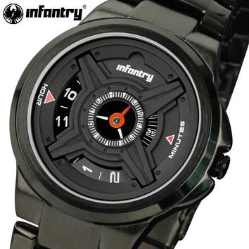 INFANTRY Mens Analog Quartz Watches Luxury Relogio Masculino Stainless Steel Strap Sport Watches Military Aviator Wristwatch