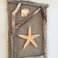 Starfish Wall Decor/ Driftwood Beach Wall Hanging/ Coastal Decor/Rustic Decor/ Beach House Decor/ Starfish Wall Hanging/ Nautical Home Decor