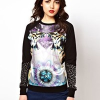 ASOS Sweatshirt with Woven Front Tiger Print with Studs at asos.com