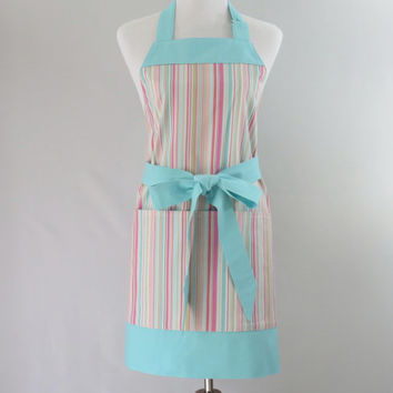 Womens Pink Striped Apron, Aqua Blue & Pink Chef Style Apron, Full Coverage, Cooking, Mother's Day, Birthday Gift for Wife, Mom, Friend, Her