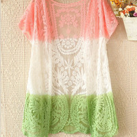 A 082916 Wild spell color short sleeve crochet lace cardigan