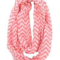 Caramel Cantina Soft Chevron Sheer Infinity Scarf (Coral/White)