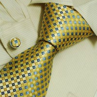 Blue checkers men ties gold plaids for best man gifts formalwear silk tie cufflinks set A2093...