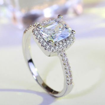 CZ Princess Cut Wedding Ring Set Engagement Band Classic Jewelry For Women