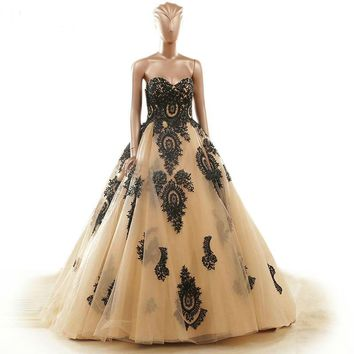 Robe Embroidery Wedding Dresses Gold Lace Up Back Ball Gown Wedding Dresses