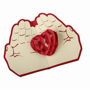 3D Valentine day card red heart pop up card  handmade Greetings