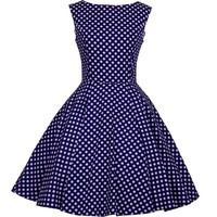 Heroecol 50s Hepburn Style Vintage Dot Swing Dress Size XL Color Navyblue White
