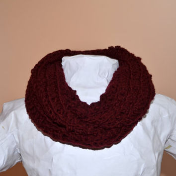 Chunky Burgundy Oxblood Crochet Double Loop Infinity Circle Scarf