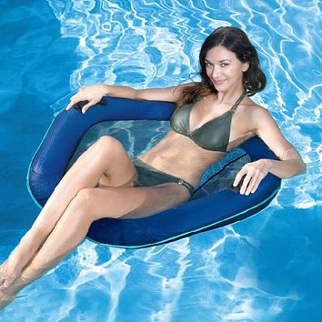 Inflatable floating pool recliner