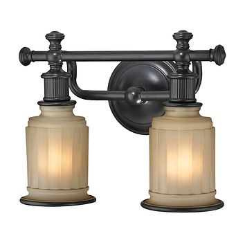 Acadia 2-Light Vanity Lamp in Oiled Bronze with Opal Reeded Pressed Glass