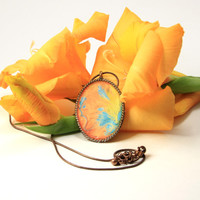 Oval Necklace Apricot Yellow and Turquoise