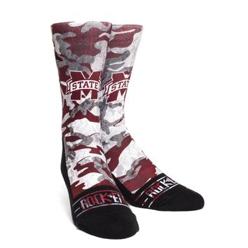 Rock 'Em Elite, Mississippi State Camo, Licensed Crew Socks