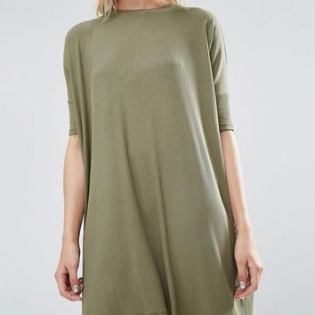 ASOS T-Shirt Dress In Rib at asos.com