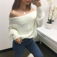 Danika Off Shoulder Thick Sweater - Off White