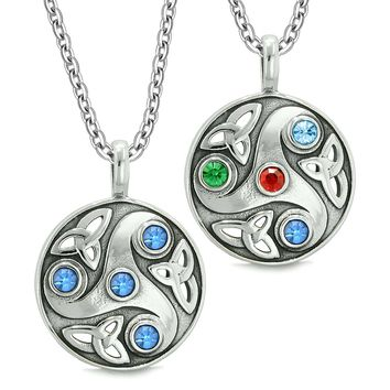 Goddess Celtic Triquetra Amulets Love Couples or Best Friends Green Red Blue Pendant Necklaces