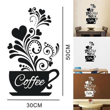 DIY Coffee Cup Heart Beauty Removable Home Kitchen Art Mural Decor Wall Sticker