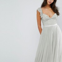 Needle & Thread Swan Tulle Midi Dress With Frill Sleeve at asos.com