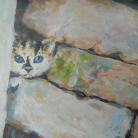 Cute Funny Kitten Oil Painting Child room Wall Decor Blue-eyed cat Face Portrait Abstract Interior art Russian Painter Canvas palette knife
