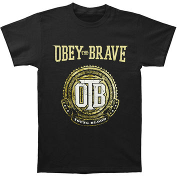 Obey The Brave Men's  Crest T-shirt Black Rockabilia
