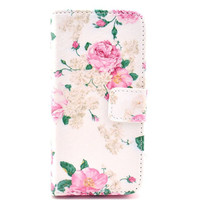 Floral Leather Flip Case For Iphone 5c With Card Holder