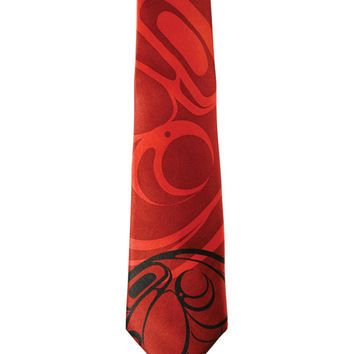 Raven Silk Tie in Red designed by First Nations Artist Connie Dickens