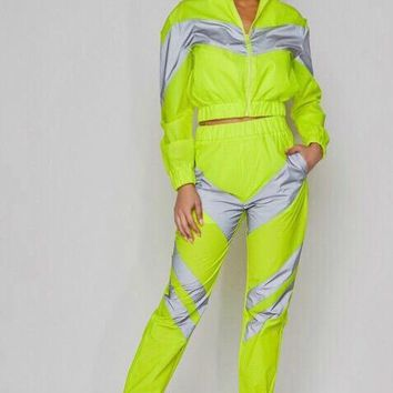 Neon Glow Reflective Panel Two Piece Track Suit Set