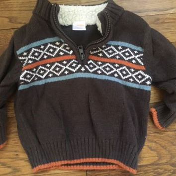 Gymboree Fair Isle Half Zip 6-12mths Boys Sweater, Excellent Condition!!