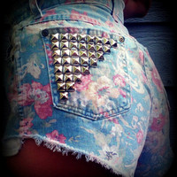 "Vintage High Waisted Floral Studded Cut Off Shorts 28"" Waist"