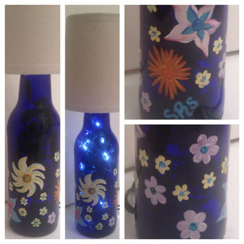Whimsical Flowers hand-painted bottle lamp FREE SHIPPING