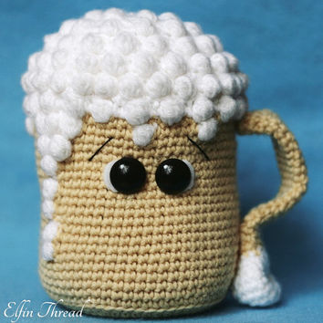 Elfin Thread - Draft Beer Amigurumi PDF Pattern (Crochet Chopp - Jar beer pattern)