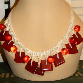 Red Bakelite Button Necklace- Cherry Red Bakelite & Watermelon Lucite- Handmade Crochet- 1940s Buttons